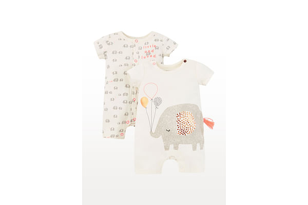 Unisex Half Sleeves Elephant Print Novelty Romper - Pack Of 2 - Cream