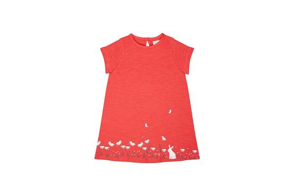 Girls Half Sleeves Dress Floral Print - Red