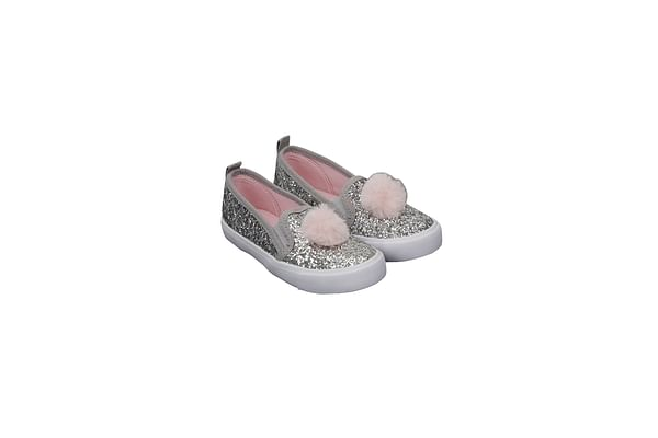 Silver Glitter And Pom Canvas Shoes