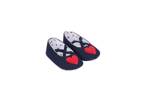 Heart Navy Ballerina Pram Shoes