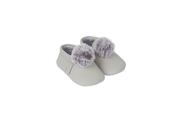 Grey Pom Moccasin Pram Shoes
