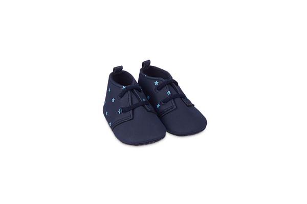 Boys Star Print Pram Shoes - Navy