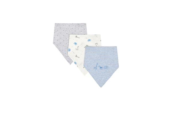Boys Toweling Bibs Stripe, Star And Animal Print - Pack Of 3 - Blue Grey White