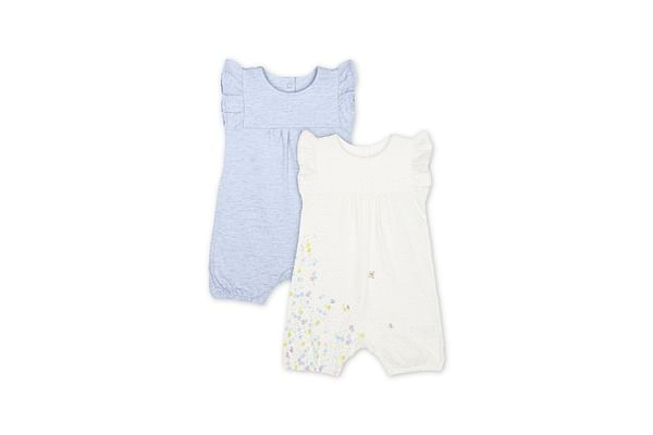 Spring Flower And Blue Frill Rompers - 2 Pack