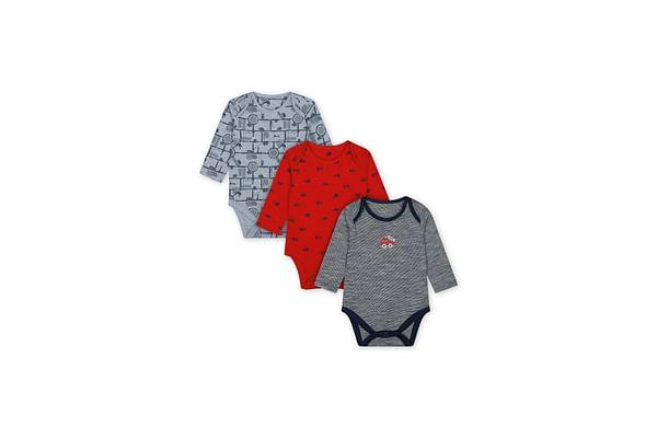 Boys Full Sleeves Vehicle Print Bodysuit - Pack Of 3 - Multicolor