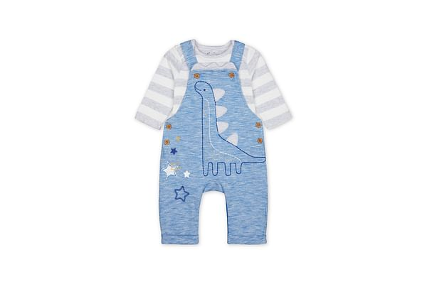 Blue Dinosaur Dungarees And Striped Bodysuit Set