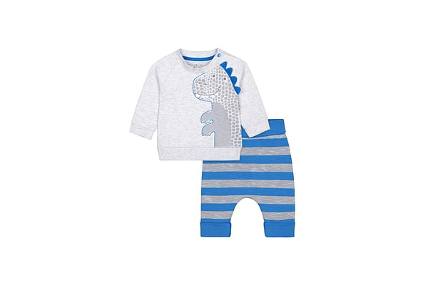 Blue And Grey Dinosaur Sweat Top And Joggers Set