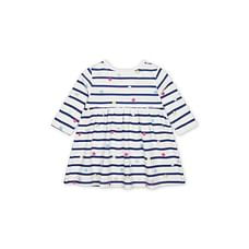 Girls Full Sleeves Striped Casual Dress - Navy