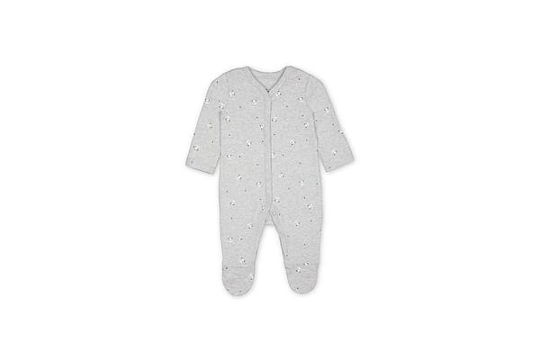 Unisex Full Sleeves Panda Print Romper - Grey