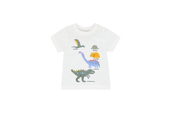 Boys Half Sleeves T-Shirt Dino Print - White