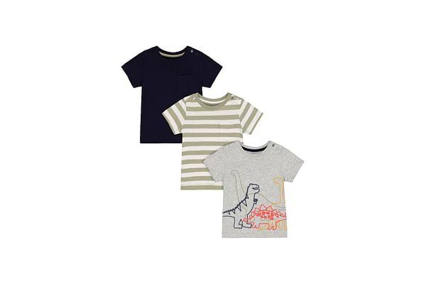 Grey Dinosaur, Green Stripe And Navy T-Shirts - 3 Pack