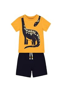 Boys Short T-Shirt Set Dino Print - Yellow Navy