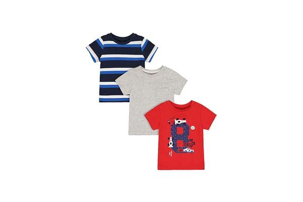 Boys Half Sleeves T-Shirt Car Print & Stripe - Pack Of 3 - Grey Navy Red