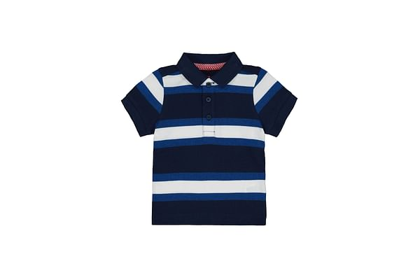 Navy Striped Polo Shirt