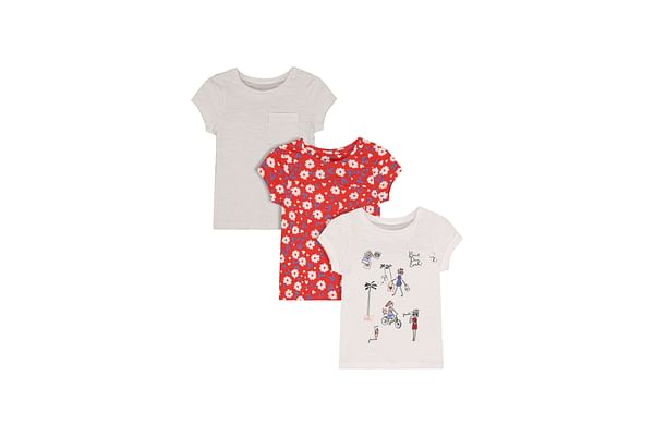 Girls Half Sleeves Floral Print T-Shirts - Pack Of 3 - Multicolor