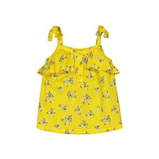 Yellow Ditsy Floral Frill Blouse