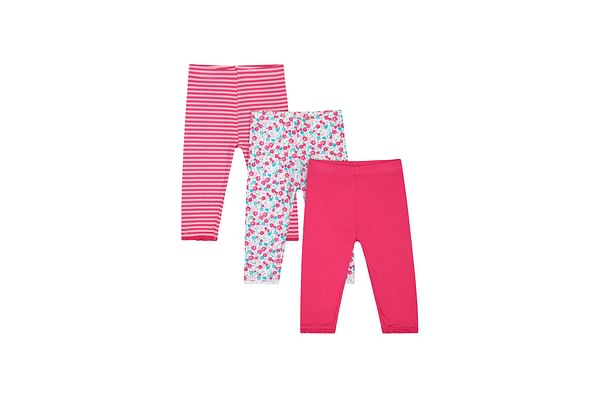 Girls Legging Floral & Stripe Print With Elasticated Waistband - Pack Of 3 - Pink White