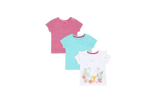 Green, Pink-Stripe And White Glitter-Print T-Shirts - 3 Pack
