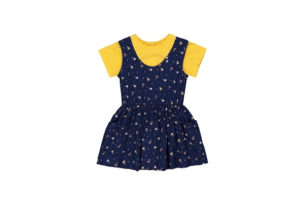 Navy Floral Pinny Dress And Tee Set