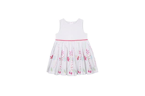 White Border-Print Dress