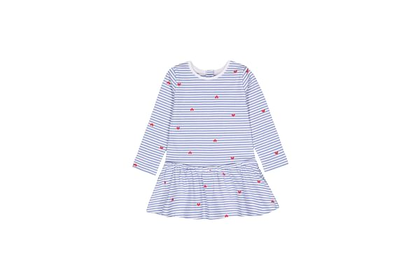 Girls Full Sleeves Dress Stripe Heart Print - Blue
