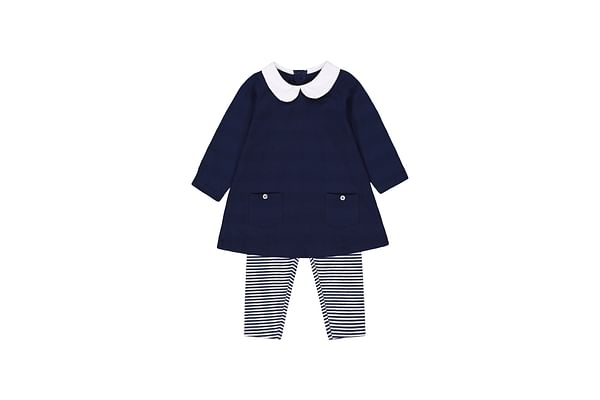 Navy Tunic And Striped Leggings Set