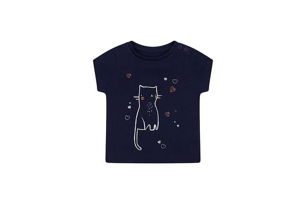 Girls Half Sleeves T-Shirt Cat Graphic Print - Navy