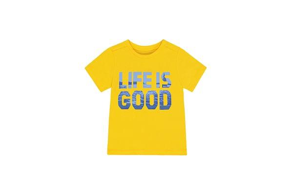 Boys Half Sleeves Text Print T-Shirt - Yellow