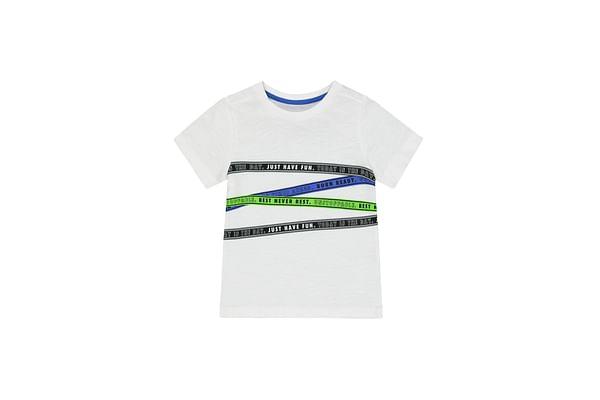 Boys Half Sleeves Slogan Tape Print T-Shirt - White