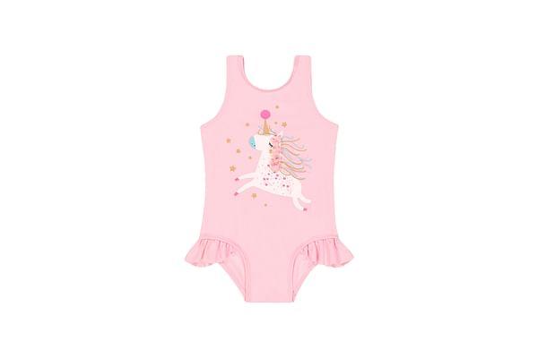 Girls Sleeveless Swimsuit Embellished Unicorn Print - Pink