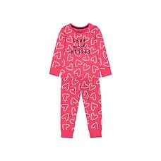 Girls Full Sleeves Pyjamas Heart Print - Red