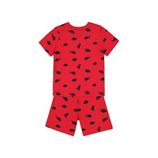 Boys Half Sleeves Red Dino Print - Red