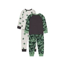 Boys Full Sleeves Green Dinosaur And Star Print - Pack Of 2 - Green