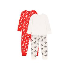 Girls Full Sleeves Pyjamas Smile Face With Floral Print - Pack Of 2 - Red White