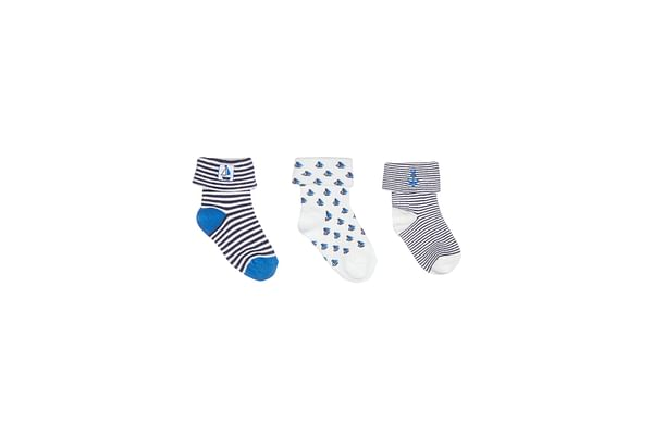Boys Striped And Embroidered Socks - Pack Of 3 - Multicolor