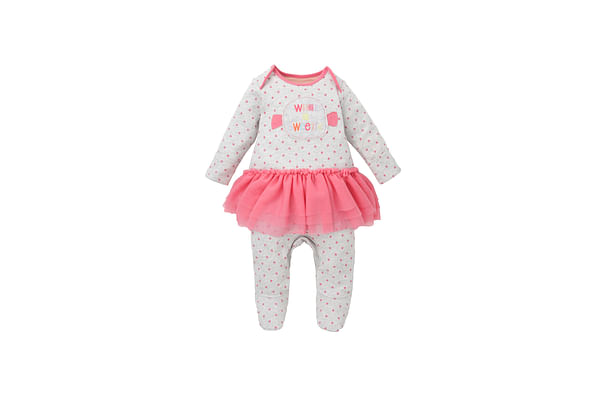 Girls Full Sleeves Frock Style Romper Text Embroidery - Grey