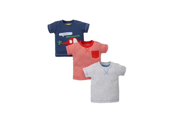 Boys Half Sleeves T-Shirt Helicopter Patchwork - Pack Of 3 - Multicolor