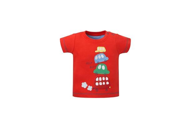 Boys Half Sleeves T-Shirt Car Print - Red