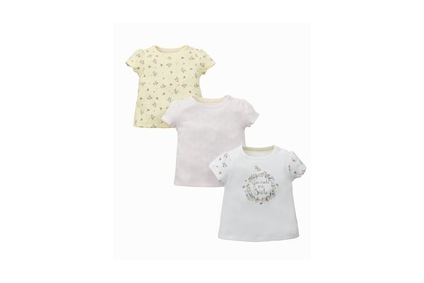 Girls Half Sleeves T-Shirt Floral Print - Pack Of 3 - Multicolor