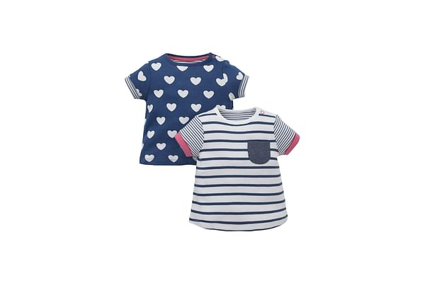 Girls Half Sleeves T-Shirt Striped And Heart Print - Pack Of 2 - Navy