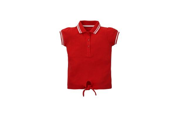 Girls Half Sleeves Polo T-Shirt Tie Waist - Red