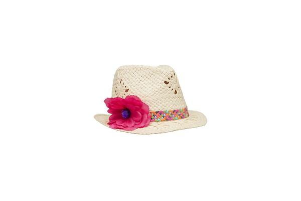 Girls Hat 3D Flower Detail - Beige