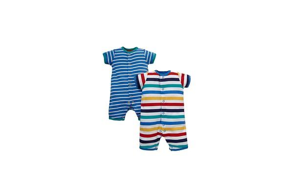 Boys Half Sleeves Romper Striped - Pack Of 2 - Multicolor