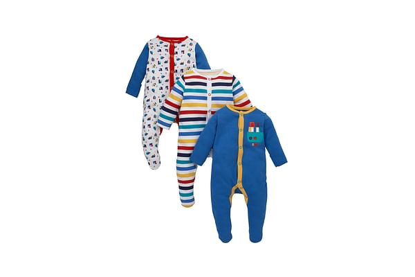 Boys Full Sleeves Sleepsuit Striped And Vehicle Print - Pack Of 3 - Multicolor