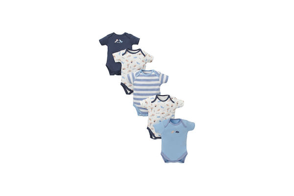 Boys Half Sleeves Bodysuit Puppy Print - Pack Of 5 - Blue