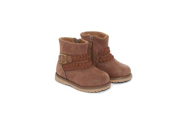Girls Boots Plaited Design - Brown