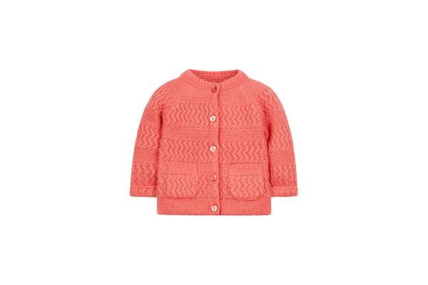 Girls Full Sleeves Cardigan - Coral