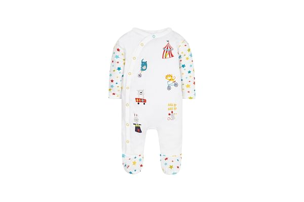 Unisex Full Sleeves Snowsuit Circus Embroidery - White