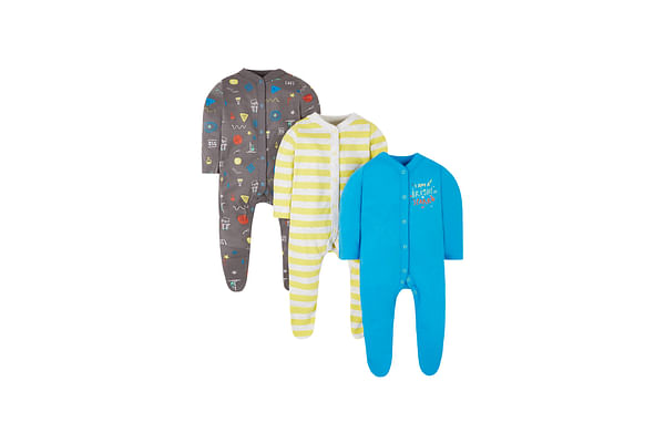 Boys Full Sleeves Sleepsuit  Striped And Text Print - Pack Of 3 - Multicolor