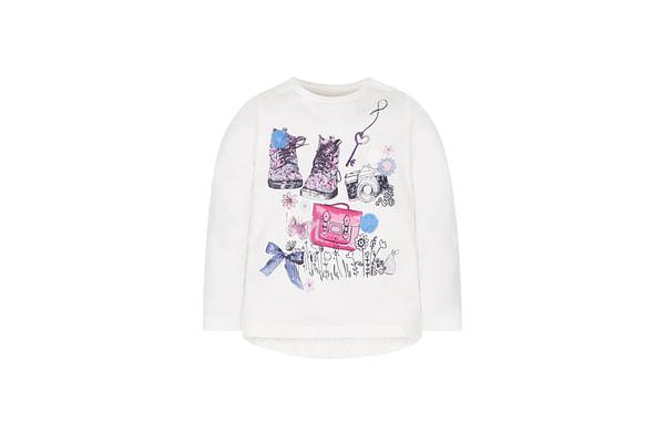 Girls Full Sleeves T-Shirt 3D Flower Detail - White